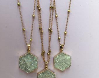 Hexagon Druzy Pendant Necklace - Brass Satellite Chain, Long Necklace, Single or Double