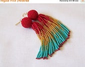 15% SALE Beaded ombre tassel earrings - Luxury Fringe Earrings - Long Tassle earrings - Statement red, gold and turquoise earrings - bridesm