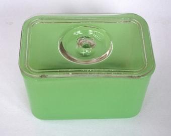 Unusual Vintage Jadeite Jadite Refrigerator Dish with Clear Glass Lid with Knob