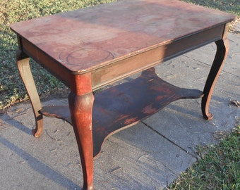 Antique Mahogany Library Table Victorian Writing Desk Queen Anne Legs Vintage Desk Entry Table