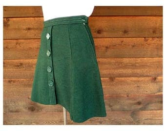 Vintage 1960s Bottle Green Wool Mini-skirt, Smart-eez, Size XS