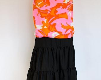 Vintage Mod Swirl Swimsuit Top / 1960s Neon Orange Swimsuit Blouse / Vintage 60s Floral Swim Top / Vintage Bathing Suit M