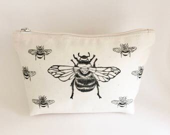 Bumble Bee canvas wash bag | Cotton zipper bag | Makeup bag | Toiletry bag  | Accessory bag | Lino print |