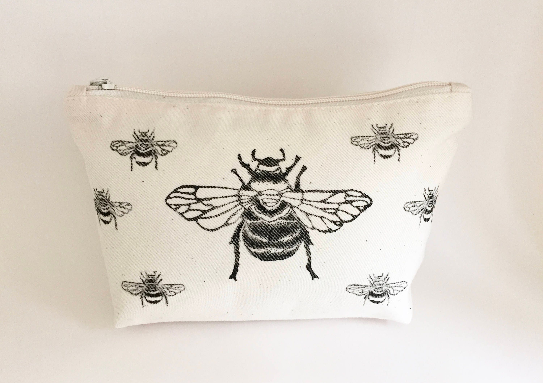 bumble bee canvas wash bag makeup bag zipper bag toiletry