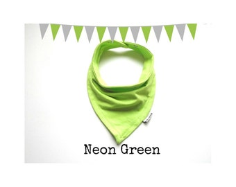 Baby Bandana Bib Scarf in Solid Neon Green Jersey Knit with Two Size Snap Closures for Boy or Girl