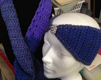 "48"" scarf and 18"" headband crocheted"