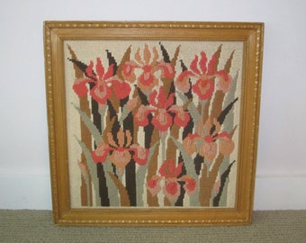 vintage needlepoint hand embroidered iris flower framed picture or wall hanging - retro