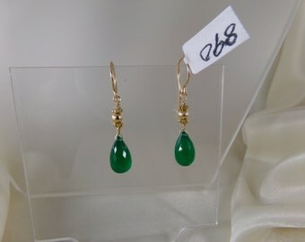 Green onyx briolette earrings 14k gold filled with vermeil ornament gemstone handmade  item 890