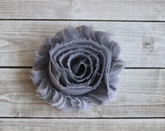 Gray shabby chic rosette hair clip grey frayed chiffon flower clip