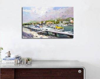 Sailboats in harbor painting, Original oil painting, Sea artwork, Seascape painting, Summer in Croatia
