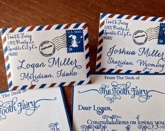 20 Tiny Tooth Fairy Letters and Envelopes Personalized in Blue and Brown