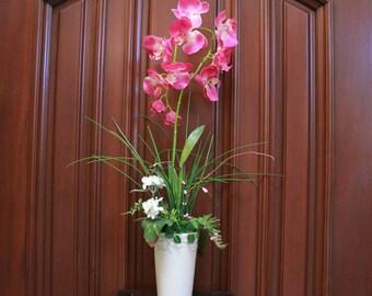 Silk Flower Arrangement - Pink Orchid (Large) (S17-48)