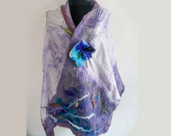 Lightweight Merino scarf - Felted scarf - Felted shawl - Merino wool scarf - Felted wool scarf - Nuno scarf - Nuno felted scarf Purple scarf