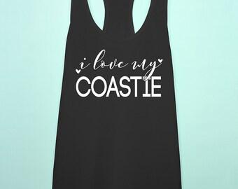 I love my Coastie tank top. Coast Guard wife girlfriend racerback tank top. uscg Gift. Coast Guard workout shirt.