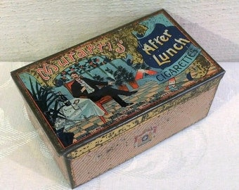 Rare Size Muratti's After Lunch Cigarette Tin, 100 Size, Vintage Antique Tobacco Tin Box, Gentleman Champagne