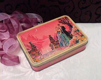 Lovely Unusual Pink Mid Century Vintage Candy Tin, Moonlight Garden Scene, Courting Couple, Tuxedo Ball Gown, Barker & Dobson