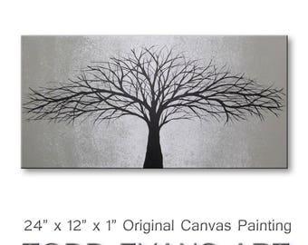 SALE Tree Painting of Tree Wall Art Gray Canvas Art Gray Wall Decor Canvas Art Original Wall Art Wall Hangings 12x24 ORIGINAL PAINTING