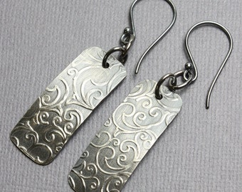 Embossed Sterling Silver Earrings, Silver Earrings, Sterling Earrings, Sterling Dangle Earrings, Handmade Earrings, Kathy Bankston, Earrings