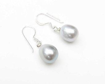 Silver gray freshwater pearl earrings - sterling silver ear wires, dangle, simple earring, single pearl earring