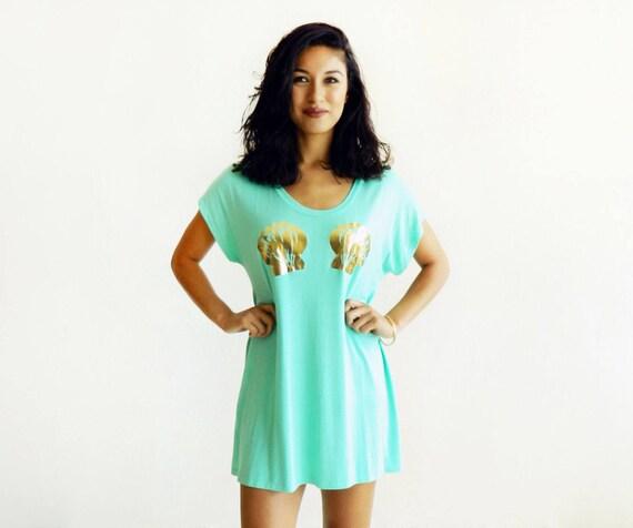 Seafoam Mermaid High-Low Tshirt Dress/Tunic