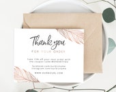 INSTANT Business Thank You Cards, Editable PDF Printable Packaging Inserts for Online Shops, Etsy Sellers | Boho, Rose Gold, Reese Download