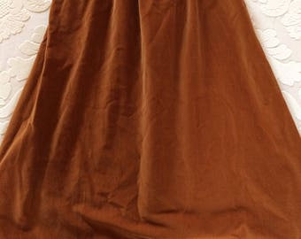 Rusty-gold Skirt in Soft Fine Wale Cotton Corduroy, from the Seventies