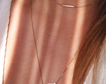 Gold-Fill Simple Bar Choker Necklace  | Simple, Minimalist, Trendy, Jewelry Staple  | Free Shipping on orders 30+