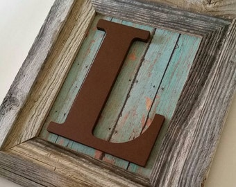 Nursery Letter L, Baby Boy Nursery Decor, Framed Letters Rustic Nursery Boys Nursery Art Distressed Frame Nursery Decor