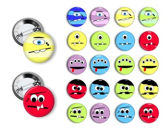 Silly Monster Faces Birthday Party Favors  1.25 inch Buttons Monster Theme