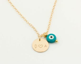 Personalize your bracelet or your necklace with an evil eye • Add an evil eye on your necklace • Custom necklace with evil eye |0002GM