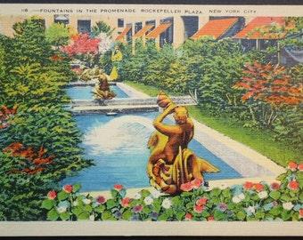Rockefeller Plaza, New York City,  Fountain Promenmade, Vintage Postcard, circa 1935
