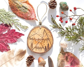 """Personalizable Mountain Wood Slice Ornament - SMALL 2.5"""" Natural Wood-Burned Ornament, Rustic Customized Wood Ornament, Sustainable"""