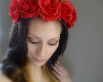 GORGEOUS Flower Crown, Red Rose Crown, Boho Flower Crown, Floral Crown