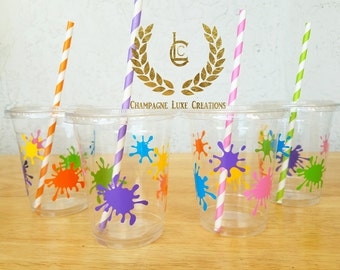 Art Party Cup, Paint Party Favor Cups (Set of 12)- Paint Party Cups, Birthday Party Cups, Party Decor