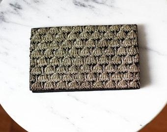 1950s velvet clutch  // 1950s silver thread clutch // vintage purse