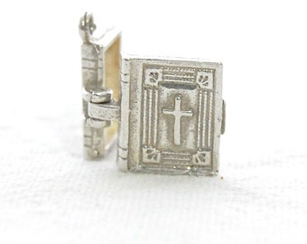 British Vintage Sterling Silver Charm - NUVO - HOLY BIBLE opens