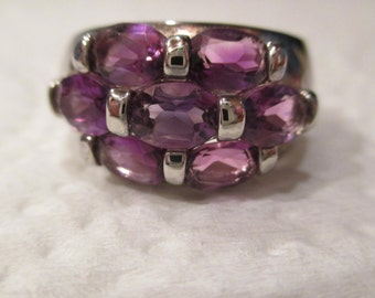 STUNNING Sterling Silver 7ct Genuine Natural African Amethyst Cluster Cocktail Ring sz7 Signed CT & .925 purple sparkly faceted BIG Stones