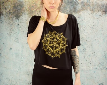MANDALA CROP TOP . black gold . yoga . boho . alternative . festival . hipster . indie