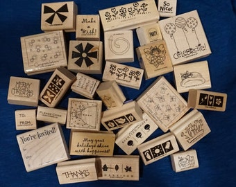 Stampin' Up rubber stamps, grab bag lot of 30. Variety of images for cards, mail art, smashbook, planners, scrapbooking, pen pal happy mail