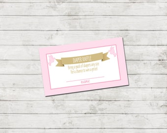Diaper Raffle Ticket - Storybook Baby Shower Invitation - Book Baby Shower - Storybook Theme - Pink and Gold - INSTANT DOWNLOAD - Printable