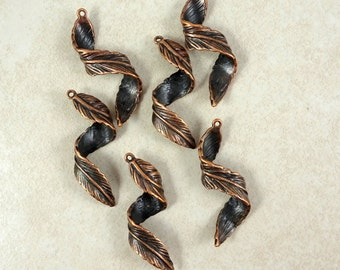 Feather Charm, Leaf Charm - Antiqued Copper Spiral Brass Feather - 43mmx13mmx9mm - Qty. 6