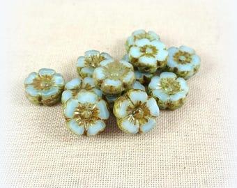 Czech Beads, Czech Glass Flower Beads, Hibiscus Flower - Light Sky Blue Silk Flower Beads (FL10/RJ-0772) - 10mm - Qty. 8