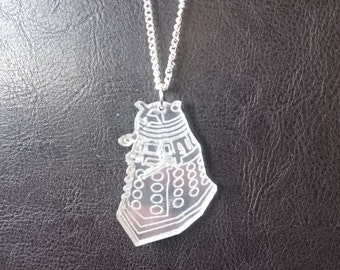 PREMADE One Acrylic Laser Cut Mirrored Silver Cute Dalek Pendant Necklace Doctor Who