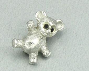 Vintage MONET Teddy Bear Pin. Tiny Silvertone Teddy Bear Pin. Vintage Monet Jewelry. Vintage Lapel Pin. Monet Lapel Pin.