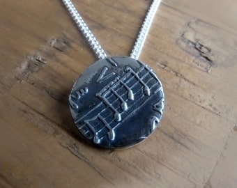 Music Disc Necklace. Music Pendant, Music Jewellery, Music Charm, Charm with Sheet Music, Musical Charm Necklace, Music Lover Gift