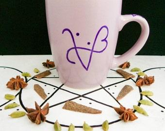 I AM LOVE, sigil mug. Wiccan, Pagan, witchcraft inspired coffee mug.