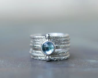 Blue Topaz Ring Set - Textured Ring - Swiss Blue Topaz Sterling Silver Rings - Celestial Rings - Boho Ring Set - Alternating Ring Stack