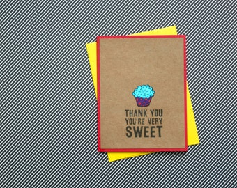 Cupcake Thank You Cards, Punny Thank You, Handmade Thank You Cards, Handmade Card Set, Cupcake Cards, Cards with cupcakes, Bakery thank you