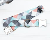 Mint, Coral & Gray Geometric Dog Collar, Male Dog Collar, Dog Lover Gift, Pet Collar, Stocking Stuffer, Puppy Collar, Female