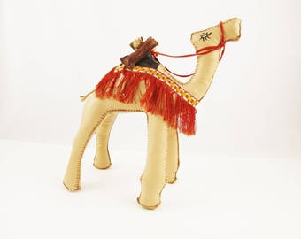 Sturdy, Stuffed Vinyl Camel - Fringed Saddle and Added Bags - Matching Reins on Pommel - Tan Souvenir Camel - Detailed - Great Shelf Piece